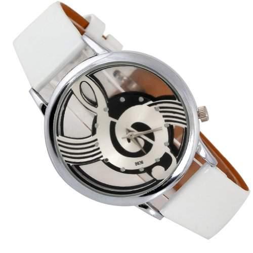 SA modische coole Maedchen und Jungen musikalisches Bilder Uhr stylishQuartz Uhr weiss