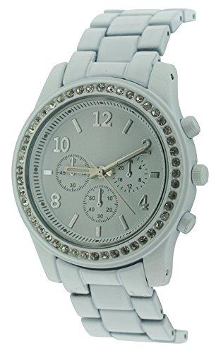 BDV WomenQuarz Uhr mit weissem Zifferblatt Analog Anzeige und weisse Armband BDV130 C