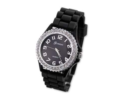 Geneva Silikon Frauen Sports Armbanduhr Damenuhr Silikonband Analoges Uhr fuer Maedchen Damen mit Kristall - Schwarz