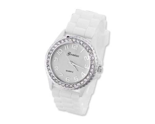 Geneva Silikon Frauen Sports Armbanduhr Damenuhr Silikonband Analoges Uhr fuer Maedchen Damen mit Kristall - Weiss