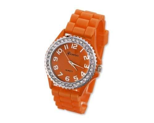 Geneva Silikon Frauen Sports Armbanduhr Damenuhr Silikonband Analoges Uhr fuer Maedchen Damen mit Kristall - Orange