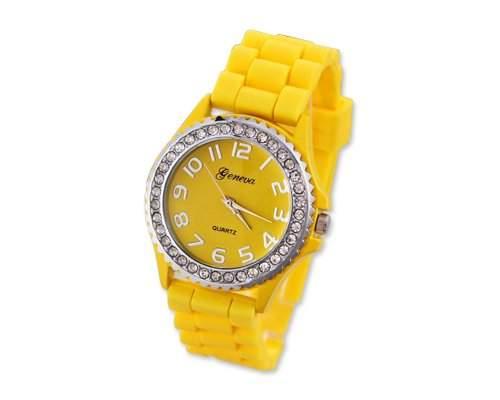 Geneva Silikon Frauen Sports Armbanduhr Damenuhr Silikonband Analoges Uhr fuer Maedchen Damen mit Kristall - Gelb