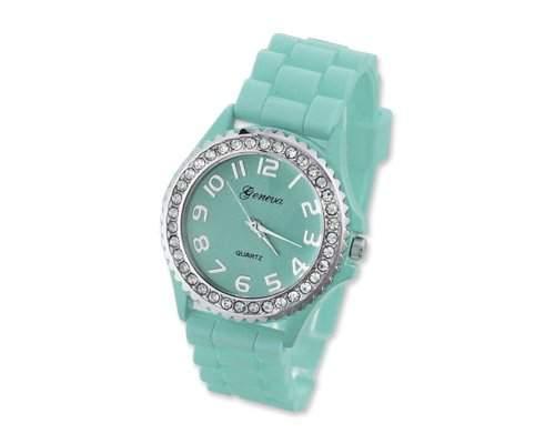 Geneva Silikon Frauen Sports Armbanduhr Damenuhr Silikonband Analoges Uhr fuer Maedchen Damen mit Kristall - Aqua