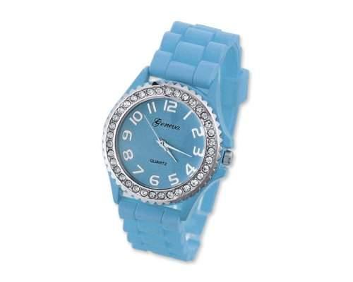 Geneva Silikon Frauen Sports Armbanduhr Damenuhr Silikonband Analoges Uhr fuer Maedchen Damen mit Kristall - Blau