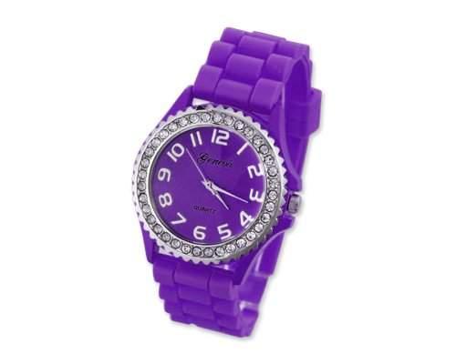 Geneva Silikon Frauen Sports Armbanduhr Damenuhr Silikonband Analoges Uhr fuer Maedchen Damen mit Kristall - Lila