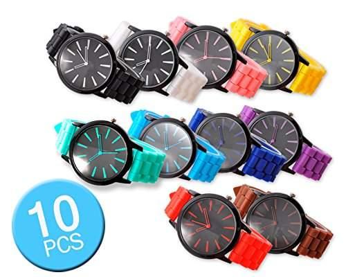 Grossverkauf 10 Stueck Geneva Unisex Silikon Liebhaber Armbanduhren Analoges Quarzuhr Geschenkuhr