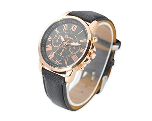 Geneva PU Leder Band Armbanduhren Quarzuhr Lederarmband Geschenkuhr fuer Unisex Damen Herren Jungen Maedchen - Schwarz