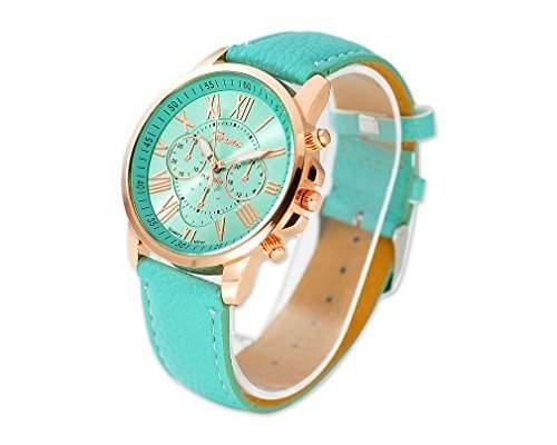 Geneva Unisex Gold Vergoldet Runde PU Leder Band Armbanduhren Quarzuhr Lederarmband Analoges Uhr Geschenkuhr - Minze