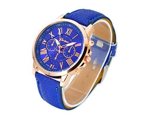 Geneva Unisex Gold Vergoldet Runde PU Leder Band Armbanduhren Quarzuhr Lederarmband Analoges Quarzwerk Uhr Rundes Gehaeuse Modeuhr Geschenkuhr fuer Unisex Damen Herren Jungen Maedchen - Blau