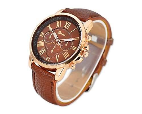 Geneva Gold Vergoldet Runde Armbanduhren PU Lederarmband Quarzwerk Uhr fuer Damen Herren Jungen Maedchen - Braun