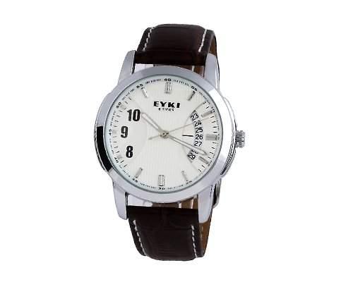 EYKI Luxus PU Leder Armband Datum Weisses Zifferblatt Mann Damen Quarz Armbanduhr Herrenuhr Analoges Quarz Uhr Geschenkuhr Automatikuhr - Braun