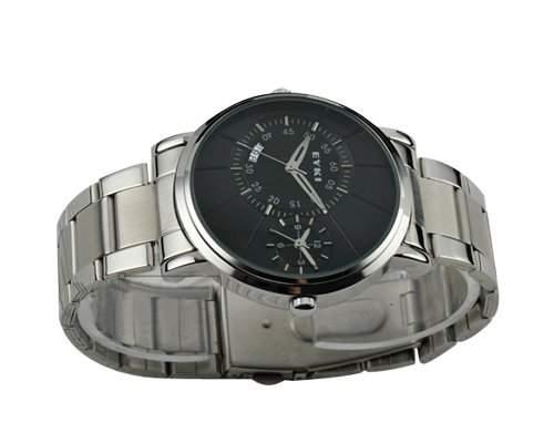 Luxus EYKI Doppelzeit Datum Schwarzes Zifferblatt Silber Edelstahl Mann Uhr Armbanduhr Herrenuhr Analoges Quarz Uhr Geschenkuhr