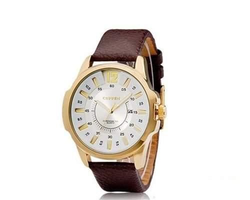 CURREN Weiss Zifferblatt Braun Armbanduhr Herrenuhr Lederarmband Quarzwerk Uhr mit Datumfunktion fuer Herren Maenner