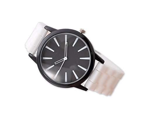 Geneva Unisex Silikon Liebhaber Herrenuhr Armbanduhren Analoges Maenner Quarzuhr Vatertag Geschenkuhr Modeuhr - Weiss