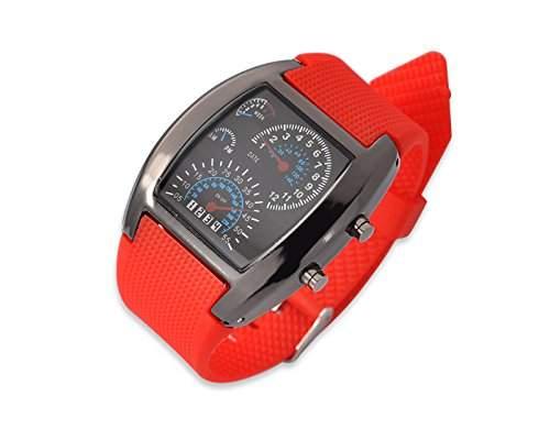 LED Blitz Sports Armbanduhr Damenuhr Herrenuhr Silikonband Analoges Uhr Quarzuhrwerk Geschenkuhr fuer Unisex - Rot