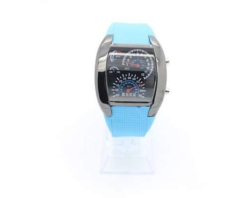 LED Blitz Sports Armbanduhr Damenuhr Herrenuhr Silikonband Analoges Uhr Quarzuhrwerk Geschenkuhr fuer Unisex - Hellblau
