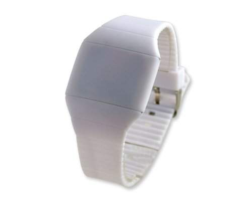 Water Resistant Touch Screen LED Digital Sportuhr Armbanduhr Kunststoff Band - Weiss