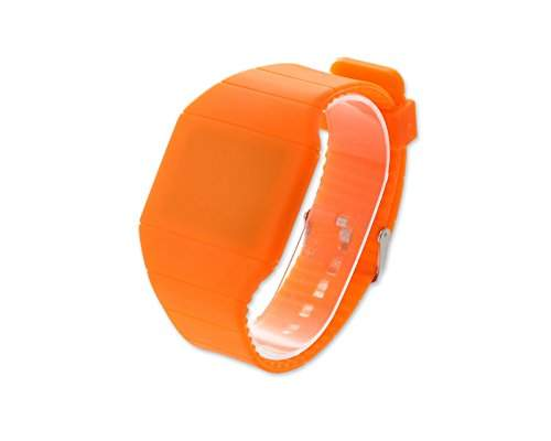 Water Resistant Touch Screen LED Digital Sportuhr Armbanduhr Kunststoff Band - Orange