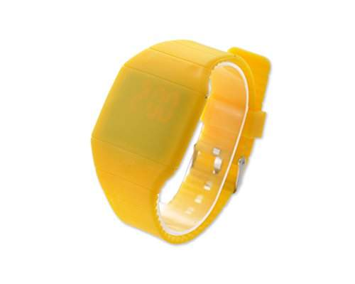 Water Resistant Touch Screen LED Digital Sportuhr Rechteck Armbanduhr Kunststoff Band - Gelb