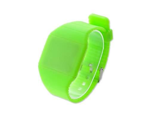 Water Resistant Touch Screen LED Digital Sportuhr Rechteck Armbanduhr Kunststoff Band - Gruen