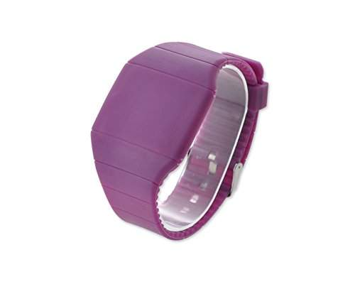 Water Resistant Touch Screen LED Digital Sportuhr Armbanduhr Kunststoff Band - Lila