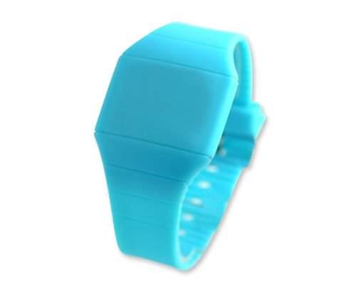 Water Resistant Touch Screen LED Digital Sportuhr Armbanduhr Kunststoff Band - Himmelblau