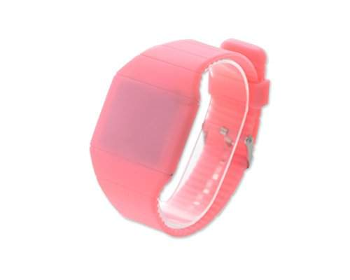 Water Resistant Touch Screen LED Digital Sportuhr Armbanduhr Kunststoff Band - Rosa