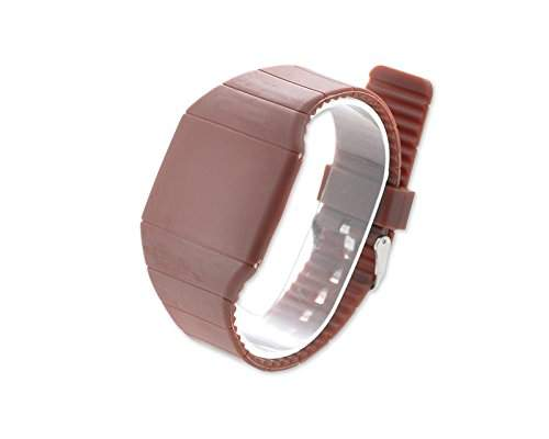 Water Resistant Touch Screen LED Digital Sportuhr Armbanduhr Kunststoff Band - Braun