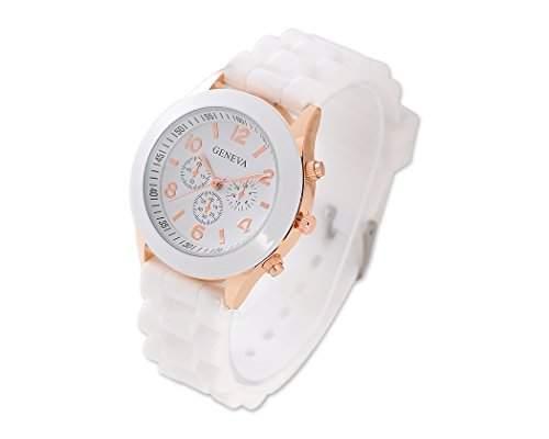 Geneva Quarz Analoge Armbanduhr mit Gelee Silikon Wasserdicht Armband - Weiss