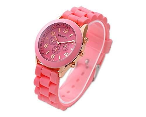 Geneva Quarz Analoge Armbanduhr mit Gelee Silikon Wasserdicht Armband - Rosa