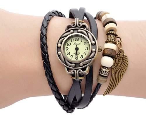 Retro Blatt Leder Damenuhr Damen Armbanduhr Armbandkette Armreif Armband Uhren Quarzuhr - Schwarz