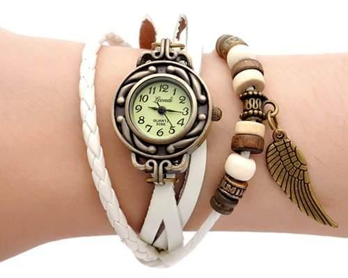 Retro Blatt Leder Damenuhr Damen Armbanduhr Armbandkette Armreif Armband Uhren Quarzuhr - Weiss