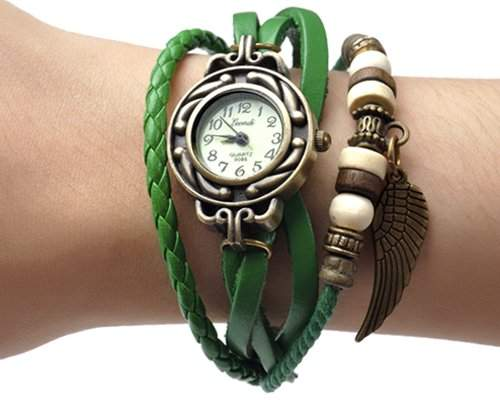 Retro Blatt Leder Damenuhr Damen Armbanduhr Armbandkette Armreif Armband Uhren Quarzuhr - Gruen