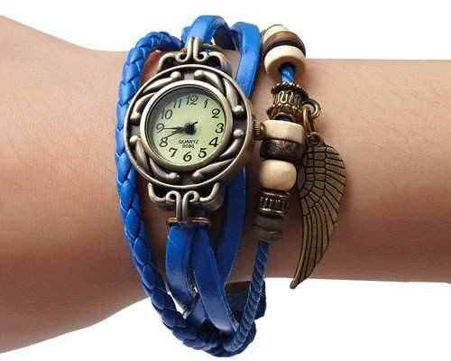 Retro Blatt Leder Damenuhr Damen Armbanduhr Armbandkette Armreif Armband Uhren Quarzuhr - Blau