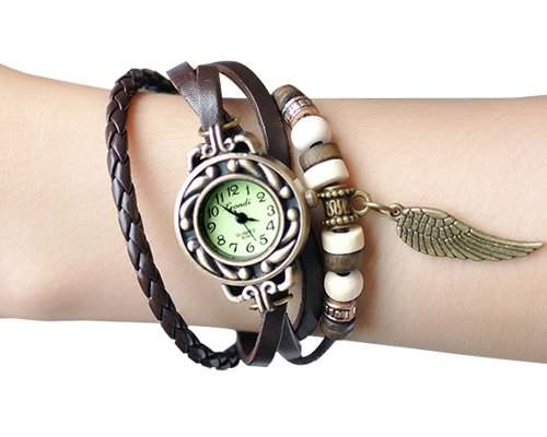 Retro Blatt Leder Damenuhr Damen Armbanduhr Armbandkette Armreif Armband Uhren Quarzuhr - Braun