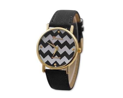 Geneva Armbanduhr Damenuhr PU Lederarmband - Schwarz
