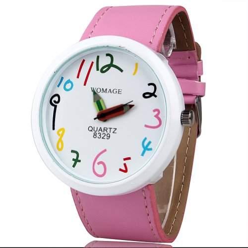 Feichen Maedchen Cute Pink Quartz Analoganzeige Uhren Pencil Pointer