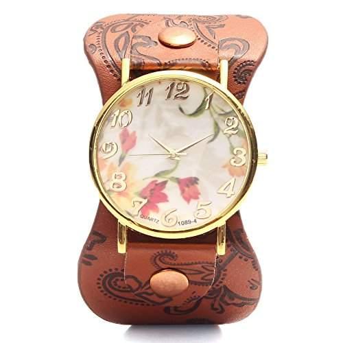Feichen Frauen Uhren PU Damen Armbanduhren Waehlen Blumen Muster Design Farbe Kaffee