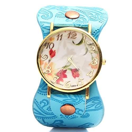 Feichen Frauen Uhren PU Damen Armbanduhren Waehlen Blumen Muster Design Farbe Blau