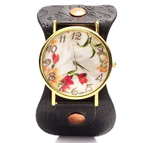 Feichen Frauen Uhren PU Damen Armbanduhren Waehlen Blumen Muster Design Farbe Schwarz
