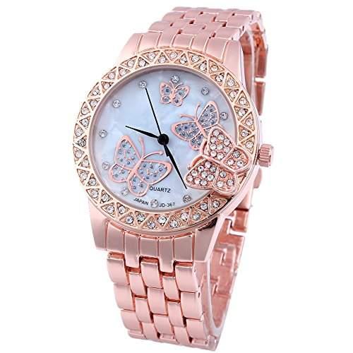 Feichen Damen Classic Schmetterling Mode Uhr Quarz Armbanduhr-Rosen-Gold