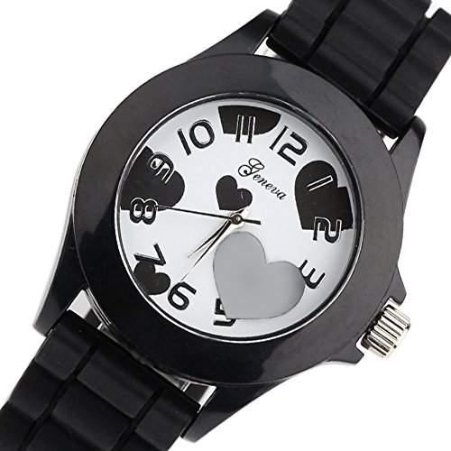 SALiebe Herz Bild Maedchen-Frauen-Uhr-Geschenk Love Heart Bild Dekorieren Watch schwarz