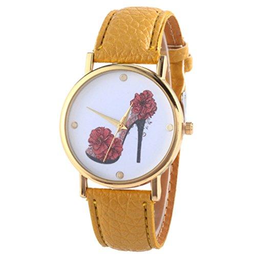 HITOP Vintage Retro Schuhe mit hohen Absaetzen Blumen Armbanduhr Basel Stil Leather Quarz Lederarmband Uhr Damen gelb