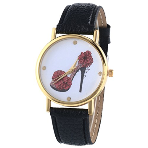 HITOP Vintage Retro Schuhe mit hohen Absaetzen Blumen Armbanduhr Basel Stil Leather Quarz Lederarmband Uhr Damen schwarz