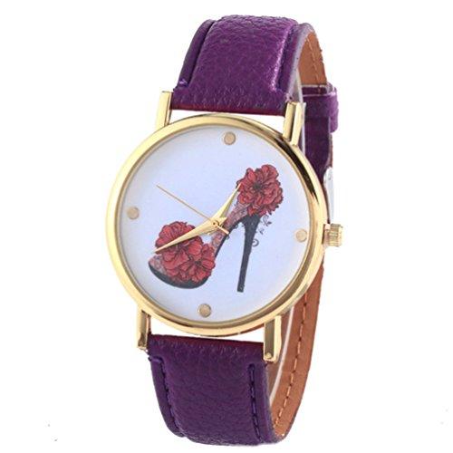 HITOP Vintage Retro Schuhe mit hohen Absaetzen Blumen Armbanduhr Basel Stil Leather Quarz Lederarmband Uhr Damen lila