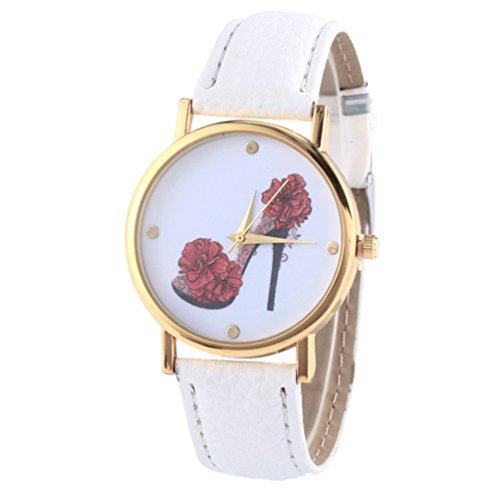 HITOP Vintage Retro Schuhe mit hohen Absaetzen Blumen Armbanduhr Basel Stil Leather Quarz Lederarmband Uhr Damen weiss