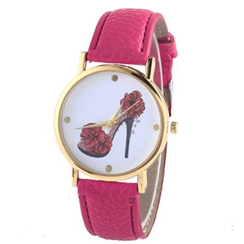 HITOP Vintage Retro Schuhe mit hohen Absaetzen Blumen Armbanduhr Basel Stil Leather Quarz Lederarmband Uhr Damen rosa