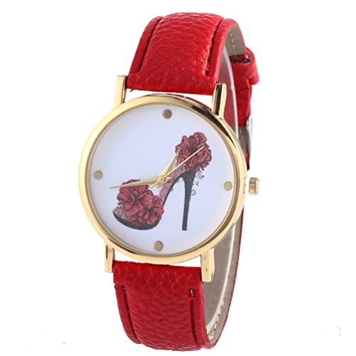 HITOP Vintage Retro Schuhe mit hohen Absaetzen Blumen Armbanduhr Basel Stil Leather Quarz Lederarmband Uhr Damen rot
