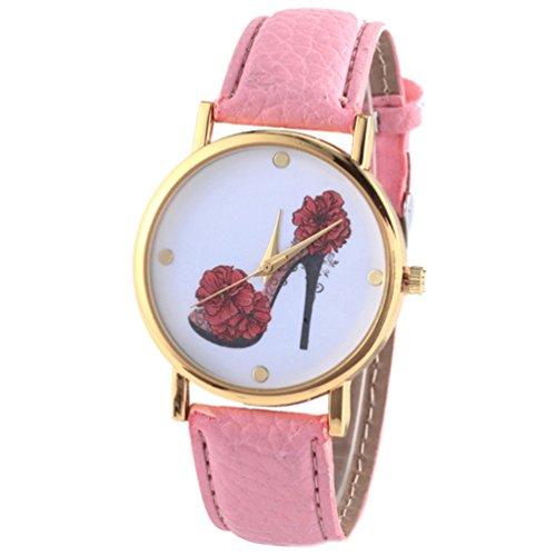 HITOP Vintage Retro Schuhe mit hohen Absaetzen Blumen Armbanduhr Basel Stil Leather Quarz Lederarmband Uhr Damen pink