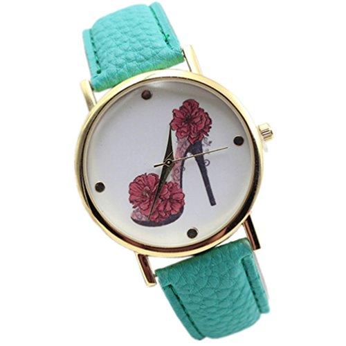 HITOP Vintage Retro Schuhe mit hohen Absaetzen Blumen Armbanduhr Basel Stil Leather Quarz Lederarmband Uhr Damen Minzgruen